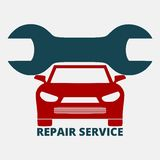 Auto repair design red car. On gray background, illustration royalty free illustration
