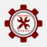 Auto repair design red gear. Auto repair design gray red on gray background royalty free illustration