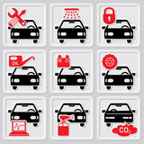 Auto repair icons. Set vector icons of auto repair and service Royalty Free Stock Images