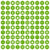 100 auto repair icons hexagon green. 100 auto repair icons set in green hexagon isolated vector illustration Royalty Free Illustration