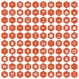 100 auto repair icons hexagon orange Royalty Free Stock Photography