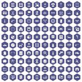 100 auto repair icons hexagon purple Royalty Free Stock Photos