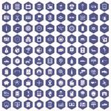 100 auto repair icons hexagon purple. 100 auto repair icons set in purple hexagon isolated vector illustration Vector Illustration