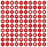100 auto repair icons hexagon red. 100 auto repair icons set in red hexagon isolated vector illustration stock illustration