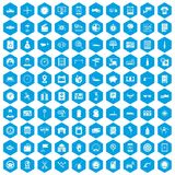 100 auto repair icons set blue. 100 auto repair icons set in blue hexagon isolated vector illustration Stock Image