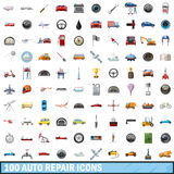 100 auto repair icons set, cartoon style. 100 auto repair icons set in cartoon style for any design vector illustration Royalty Free Stock Photos