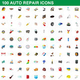 100 auto repair icons set, cartoon style Stock Image