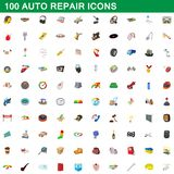 100 auto repair icons set, cartoon style. 100 auto repair icons set in cartoon style for any design illustration vector illustration