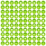 100 auto repair icons set green circle. Isolated on white background vector illustration Vector Illustration