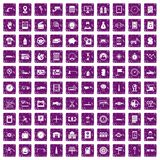 100 auto repair icons set grunge purple. 100 auto repair icons set in grunge style purple color isolated on white background vector illustration Stock Photography
