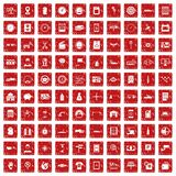 100 auto repair icons set grunge red. 100 auto repair icons set in grunge style red color isolated on white background vector illustration Royalty Free Stock Photos