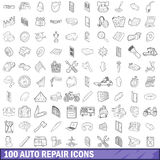 100 auto repair icons set, outline style. 100 auto repair icons set in outline style for any design vector illustration Royalty Free Stock Image