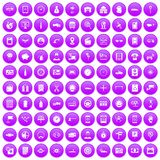 100 auto repair icons set purple. 100 auto repair icons set in purple circle isolated on white vector illustration Stock Photo