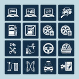 Auto repair icons. Set of vector icons of auto repair and car service maintenance Royalty Free Stock Photo