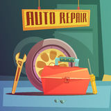 Auto Repair Illustration. Auto repair cartoon background with spare parts and tools vector illustration Royalty Free Stock Image