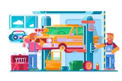 Auto Repair Service. Auto Mechanic Near the Car Lifted on Autolifts. Vector illustration Stock Image
