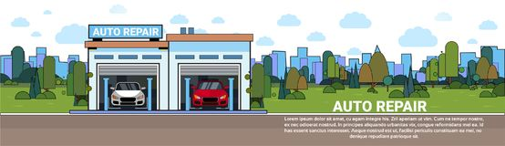 Auto Repair Service Garage Mechnic Vehicle Workshop Horizontal Banner With Copy Space. Flat Vector Illustration vector illustration