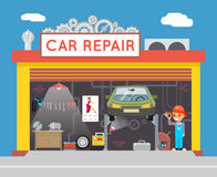 Auto Repair Service Garage Shop Technician Vehicle Fix Flat Design Workshop Concept Template Vector Illustration. Auto Repair Service Garage Shop Technician Fix Royalty Free Stock Images