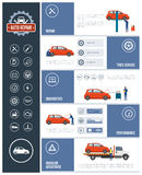 Auto repair service. Infographic with mechanics working on a car, text and icons set: repair, tires, diagnostics, performance, roadside assistance Stock Photos