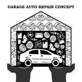 Auto Repair Services black concept with car icons and spare parts in the garage in the stretched out palms isolated on white backg. Round. Vector illustration Royalty Free Stock Photos