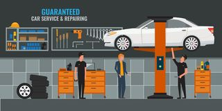 Auto repair shop interior with mechanics or masters working and fixing cars, professional service. Car on the lift. Tools panel on wall. Vector illustration stock illustration