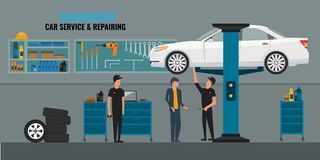 Auto repair shop interior with mechanics or masters working and fixing cars, professional service concept and talking to vector illustration