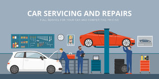 Auto repair. Shop interior with mechanics working and fixing cars, professional service concept royalty free illustration