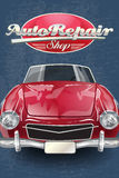 Auto repair shop retro poster Royalty Free Stock Photography
