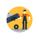 Auto repair shop, worker in uniform with car, check up concept Royalty Free Stock Photo