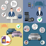 Auto repair, tire service, diagnostics of the vehicle, flat icon set Royalty Free Stock Images