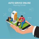 Auto repairing concept. Auto service online. Car repair service center. Tire service flat set with shop car repair Stock Photos