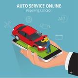 Auto repairing concept. Auto service online. Car repair service center. Tire service flat set with shop car repair Stock Images