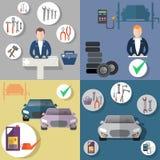 Auto reparation, gummihjulservice, diagnostik av medlet, plan symbolsuppsättning royaltyfri illustrationer