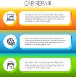 Auto-Reparatur-Service-horizontal-Fahne-Satz Lizenzfreie Stockfotos
