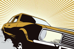 Auto in retro style pop art and vintage advertising. Royalty Free Stock Images