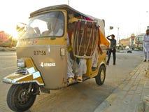 Auto Rickshaw. October 2.2011 Karachi Pakistan, famous three wheeler of Karachi Stock Photos