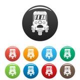 Auto rickshaw icons set color royalty free illustration