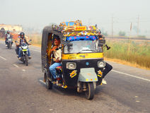 Auto rickshaw on indian road Stock Photo