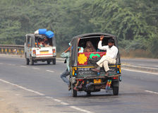 Auto rickshaw on indian road Stock Photos