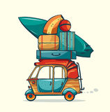 Auto rickshaw and laggage. Vacation trip. Royalty Free Stock Photo
