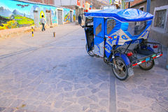 Auto rickshaw parked in the street of Chivay town, Peru Stock Photography