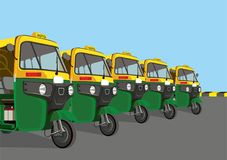 Auto rickshaw stand stock illustration