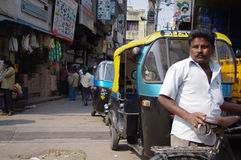 Auto rickshaws on an Indian street Stock Photography