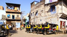 Auto rickshaws taxi on the the street. Jodhpur Royalty Free Stock Images