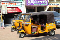 Auto rickshaws waiting for passengers Stock Photos