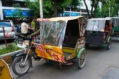 Auto rickshawtaxi i Medan, Indonesien. royaltyfri foto