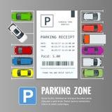 Auto's in de parkeerterrein en Parkerenkaartjes Openbaar parkeerterrein vector illustratie