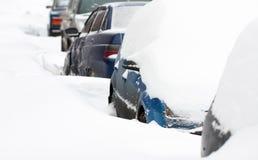 Auto's in de winter Royalty-vrije Stock Afbeelding