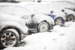 Auto's die met witte sneeuw worden behandeld Royalty-vrije Stock Fotografie