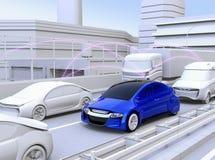 Auto's die verkeersinformatie delen door verbonden autofunctie royalty-vrije illustratie